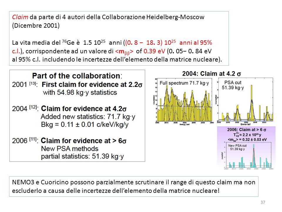 37 Claim da parte di 4 autori della Collaborazione Heidelberg-Moscow (Dicembre 2001) La vita media del 76 Ge è 1.5 10 25 anni ((0.