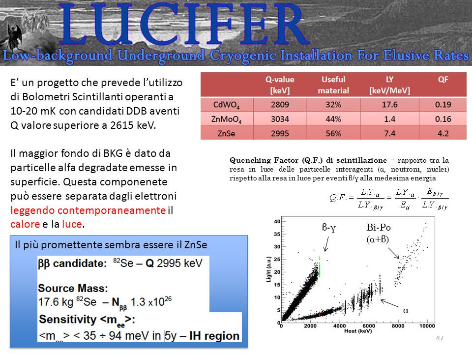 47 E' un progetto che prevede l'utilizzo di Bolometri Scintillanti operanti a 10-20 mK con candidati DDB aventi Q valore superiore a 2615 keV. Il magg