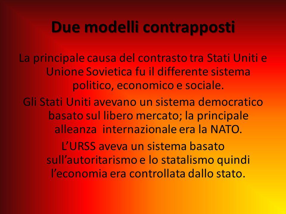 Due modelli contrapposti La principale causa del contrasto tra Stati Uniti e Unione Sovietica fu il differente sistema politico, economico e sociale.