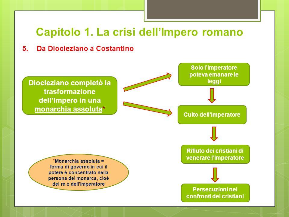 Capitolo 1. La crisi dell'Impero romano 5.Da Diocleziano a Costantino Diocleziano completò la trasformazione dell'Impero in una monarchia assoluta* So