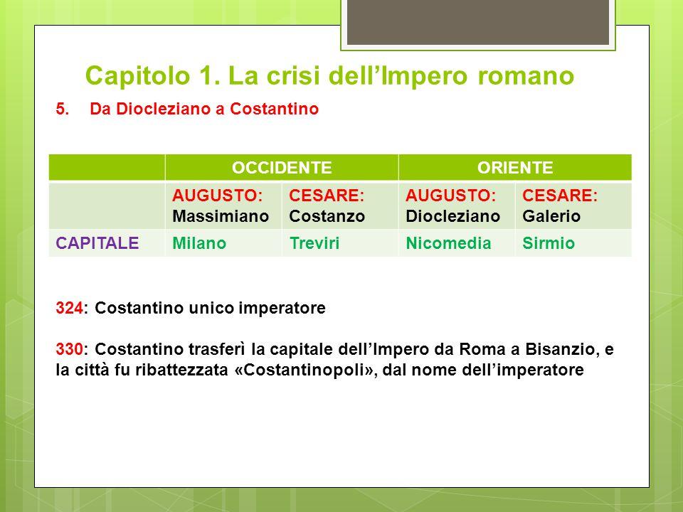 Capitolo 1. La crisi dell'Impero romano 5.Da Diocleziano a Costantino OCCIDENTEORIENTE AUGUSTO: Massimiano CESARE: Costanzo AUGUSTO: Diocleziano CESAR