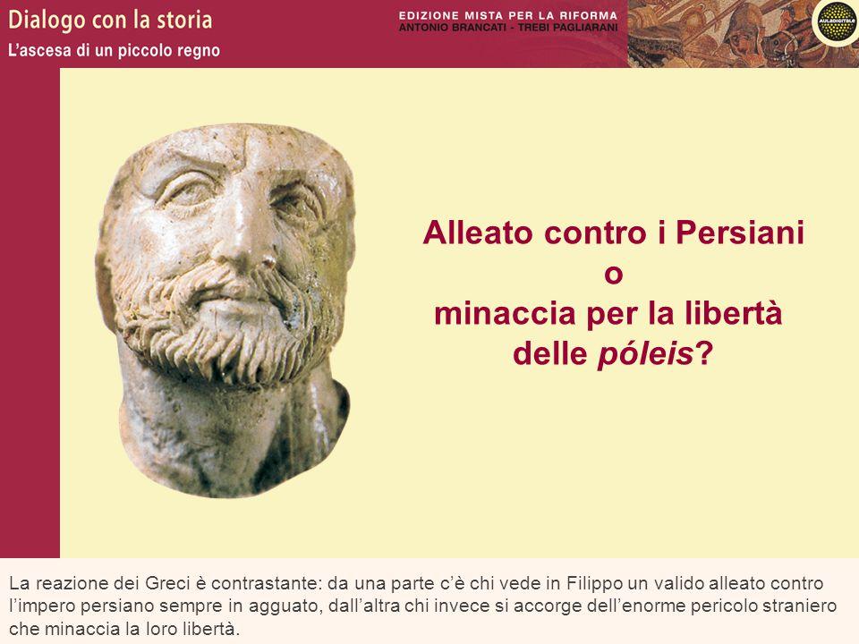 La reazione dei Greci è contrastante: da una parte c'è chi vede in Filippo un valido alleato contro l'impero persiano sempre in agguato, dall'altra ch