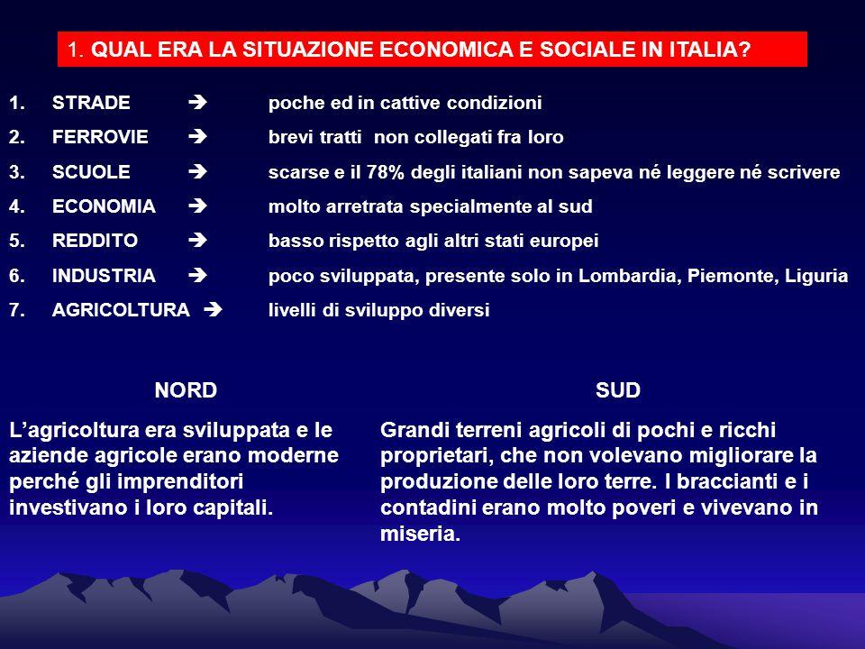 1. QUAL ERA LA SITUAZIONE ECONOMICA E SOCIALE IN ITALIA? 1.STRADE  poche ed in cattive condizioni 2.FERROVIE  brevi tratti non collegati fra loro 3.