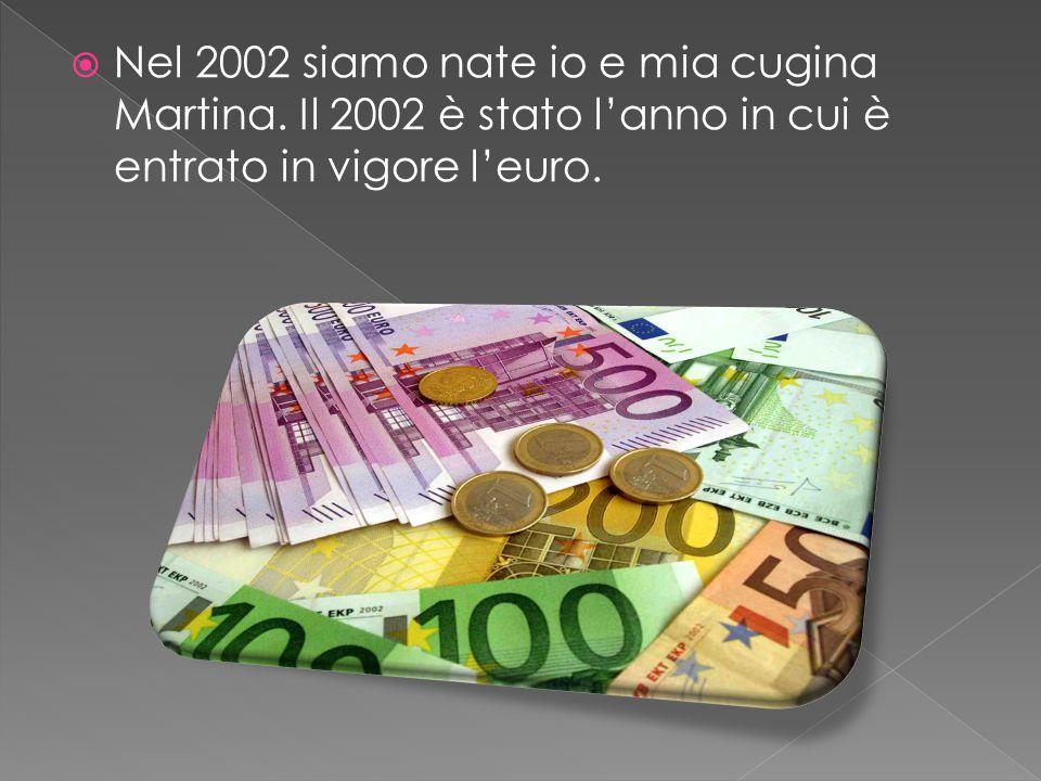  Nel 2002 siamo nate io e mia cugina Martina. Il 2002 è stato l'anno in cui è entrato in vigore l'euro.