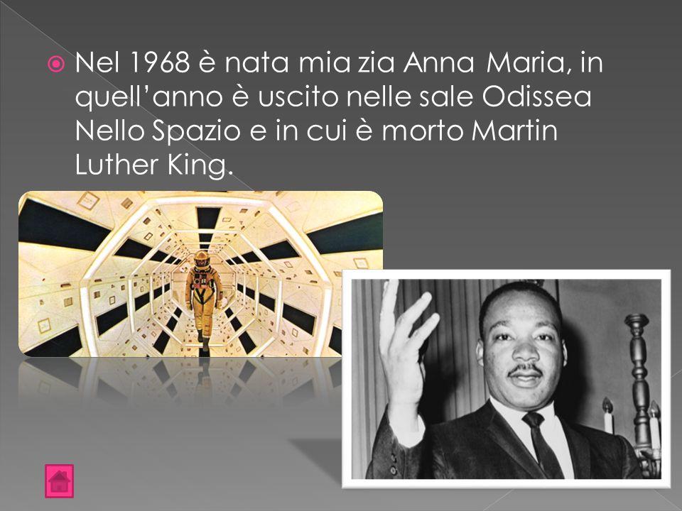  Nel 1968 è nata mia zia Anna Maria, in quell'anno è uscito nelle sale Odissea Nello Spazio e in cui è morto Martin Luther King.