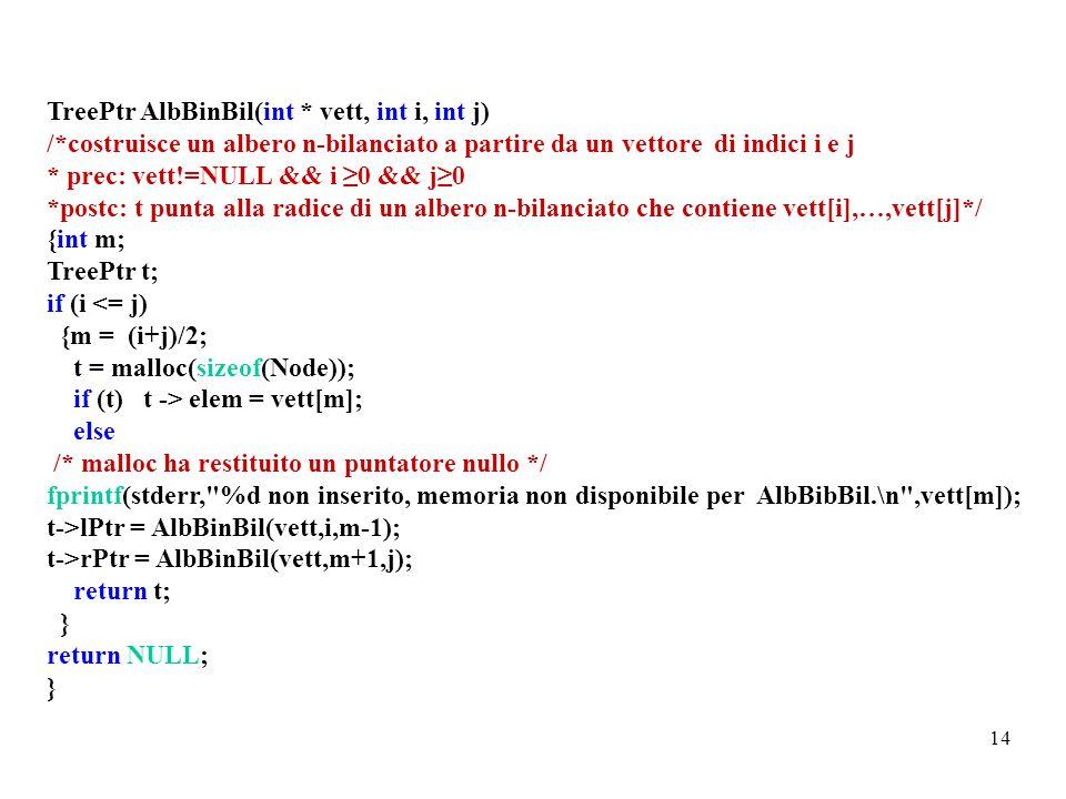 14 TreePtr AlbBinBil(int * vett, int i, int j) /*costruisce un albero n-bilanciato a partire da un vettore di indici i e j * prec: vett!=NULL && i ≥0