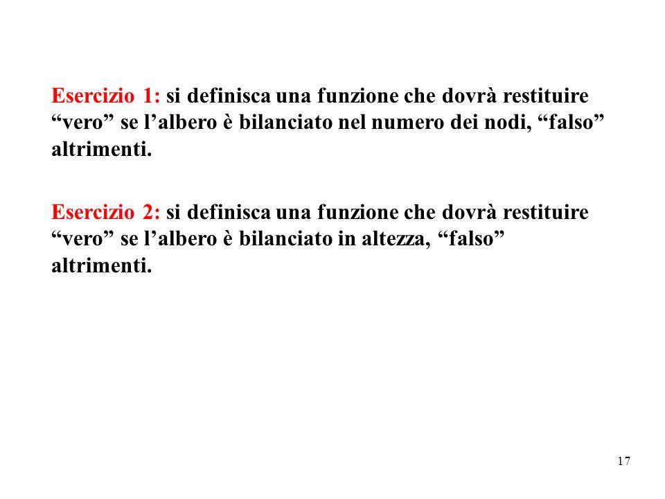 """17 Esercizio 1: si definisca una funzione che dovrà restituire """"vero"""" se l'albero è bilanciato nel numero dei nodi, """"falso"""" altrimenti. Esercizio 2: s"""