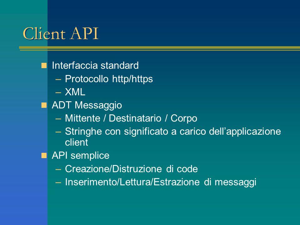 Client API Interfaccia standard –Protocollo http/https –XML ADT Messaggio –Mittente / Destinatario / Corpo –Stringhe con significato a carico dell'applicazione client API semplice –Creazione/Distruzione di code –Inserimento/Lettura/Estrazione di messaggi