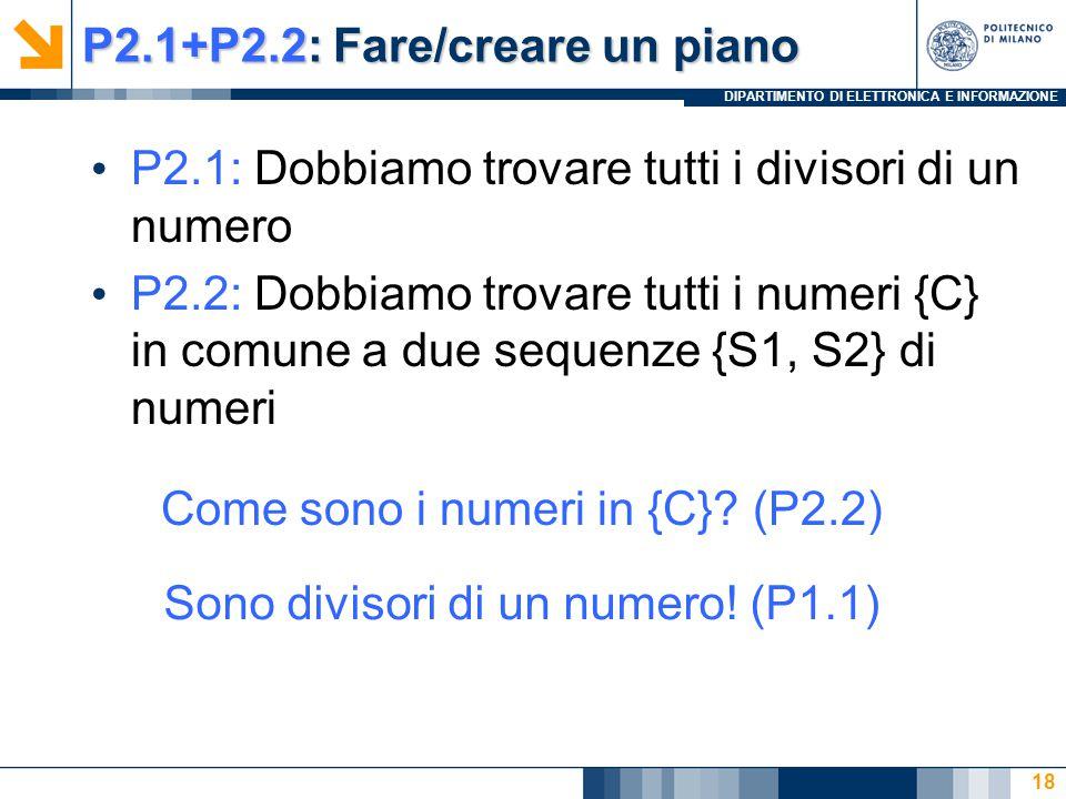 DIPARTIMENTO DI ELETTRONICA E INFORMAZIONE P2.1+P2.2: Fare/creare un piano P2.1: Dobbiamo trovare tutti i divisori di un numero P2.2: Dobbiamo trovare tutti i numeri {C} in comune a due sequenze {S1, S2} di numeri 18 Come sono i numeri in {C}.