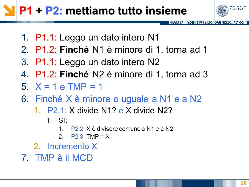 DIPARTIMENTO DI ELETTRONICA E INFORMAZIONE P1 + P2: mettiamo tutto insieme 1.P1.1: Leggo un dato intero N1 2.P1.2: Finché N1 è minore di 1, torna ad 1 3.P1.1: Leggo un dato intero N2 4.P1.2: Finché N2 è minore di 1, torna ad 3 5.X = 1 e TMP = 1 6.Finché X è minore o uguale a N1 e a N2 1.P2.1: X divide N1.