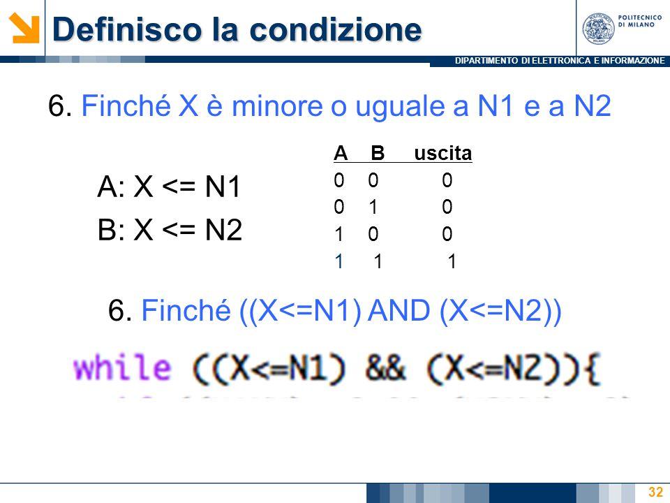 DIPARTIMENTO DI ELETTRONICA E INFORMAZIONE Definisco la condizione 32 A: X <= N1 B: X <= N2 6.