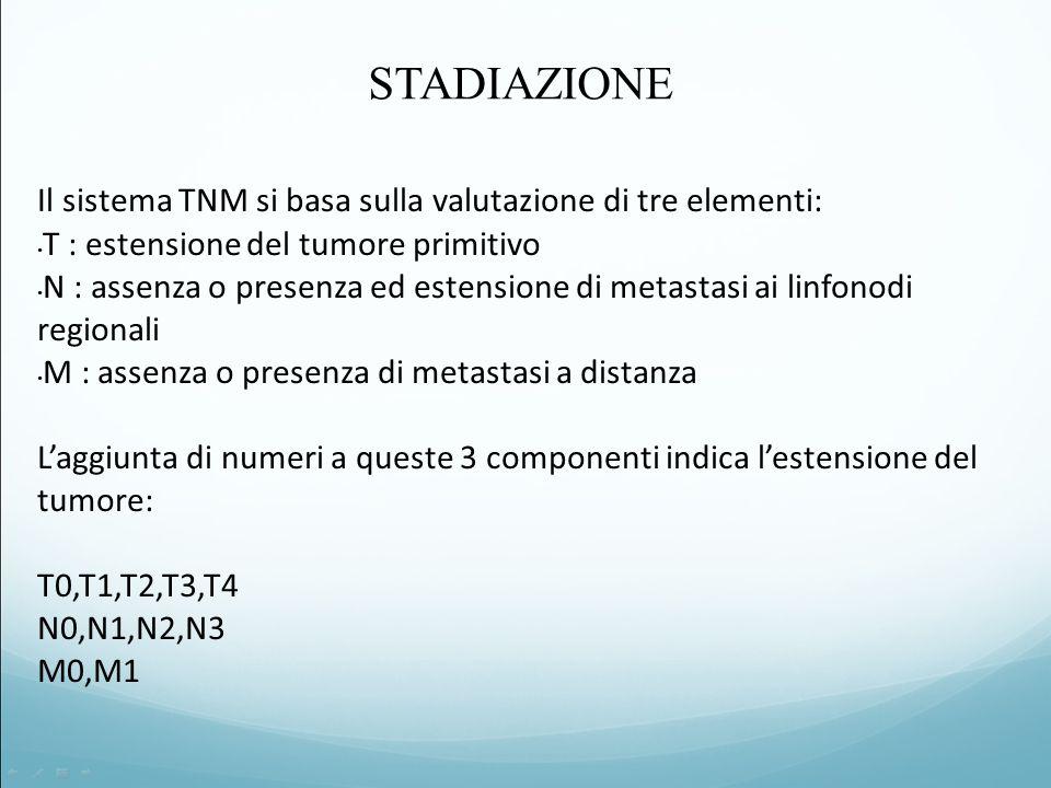 Il sistema TNM si basa sulla valutazione di tre elementi: T : estensione del tumore primitivo N : assenza o presenza ed estensione di metastasi ai linfonodi regionali M : assenza o presenza di metastasi a distanza L'aggiunta di numeri a queste 3 componenti indica l'estensione del tumore: T0,T1,T2,T3,T4 N0,N1,N2,N3 M0,M1 STADIAZIONE