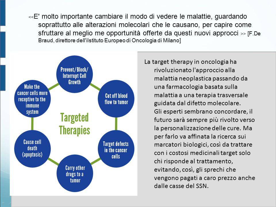 > [F.De Braud, direttore dell'iIstituto Europeo di Oncologia di Milano] La target therapy in oncologia ha rivoluzionato l'approccio alla malattia neop