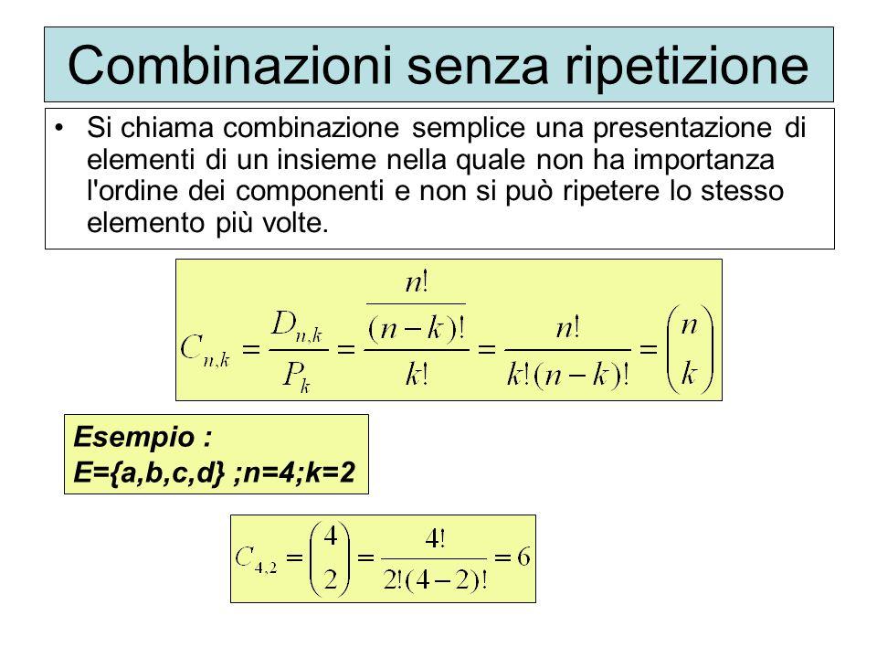Combinazioni senza ripetizione Si chiama combinazione semplice una presentazione di elementi di un insieme nella quale non ha importanza l'ordine dei