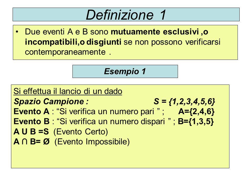 Definizione 1 Due eventi A e B sono mutuamente esclusivi,o incompatibili,o disgiunti se non possono verificarsi contemporaneamente. Esempio 1 Si effet