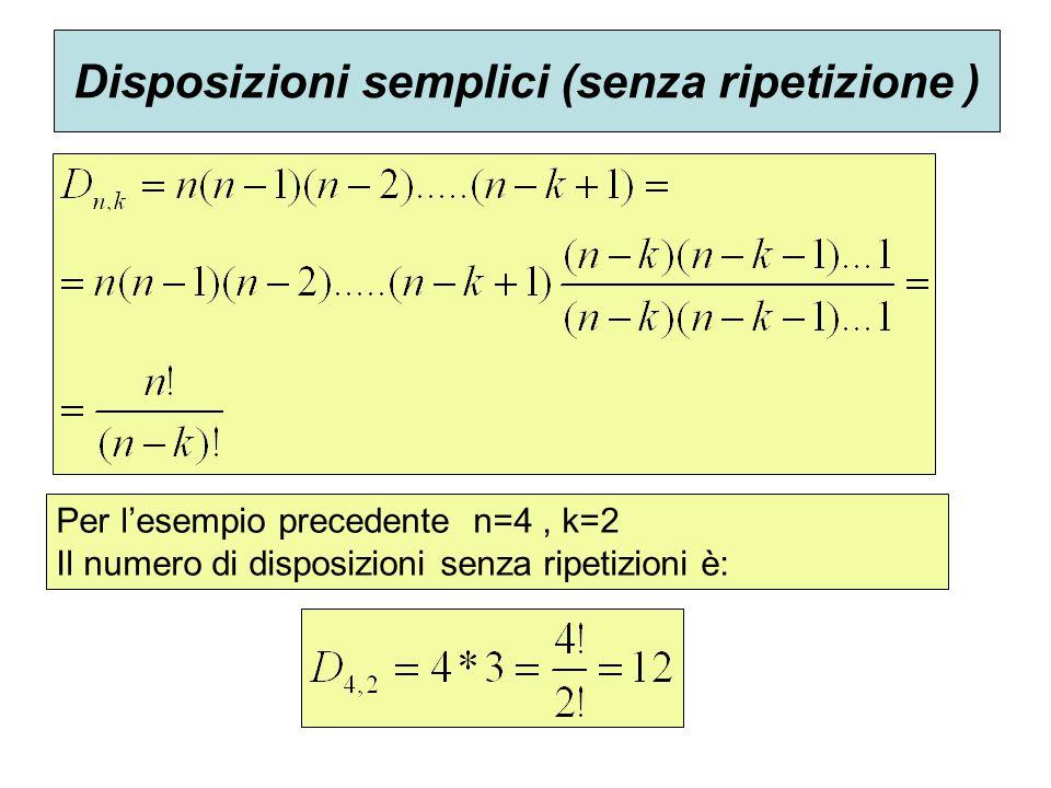 Disposizioni semplici (senza ripetizione ) Per l'esempio precedente n=4, k=2 Il numero di disposizioni senza ripetizioni è: