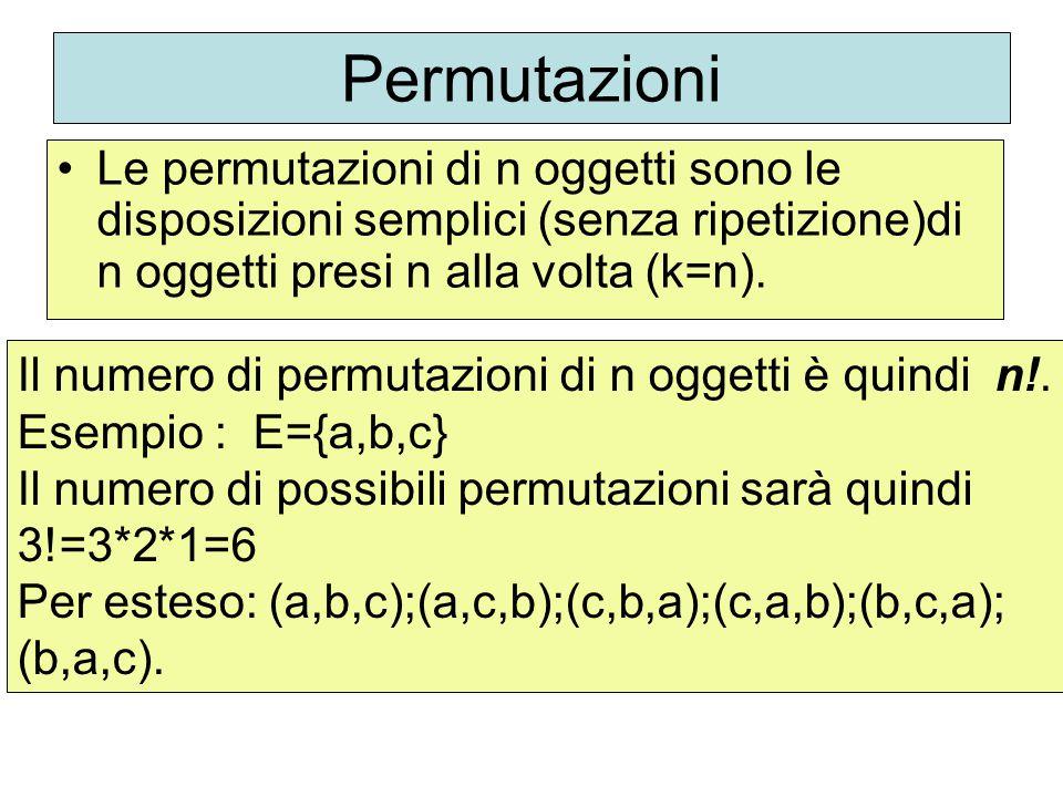 Permutazioni Le permutazioni di n oggetti sono le disposizioni semplici (senza ripetizione)di n oggetti presi n alla volta (k=n). Il numero di permuta