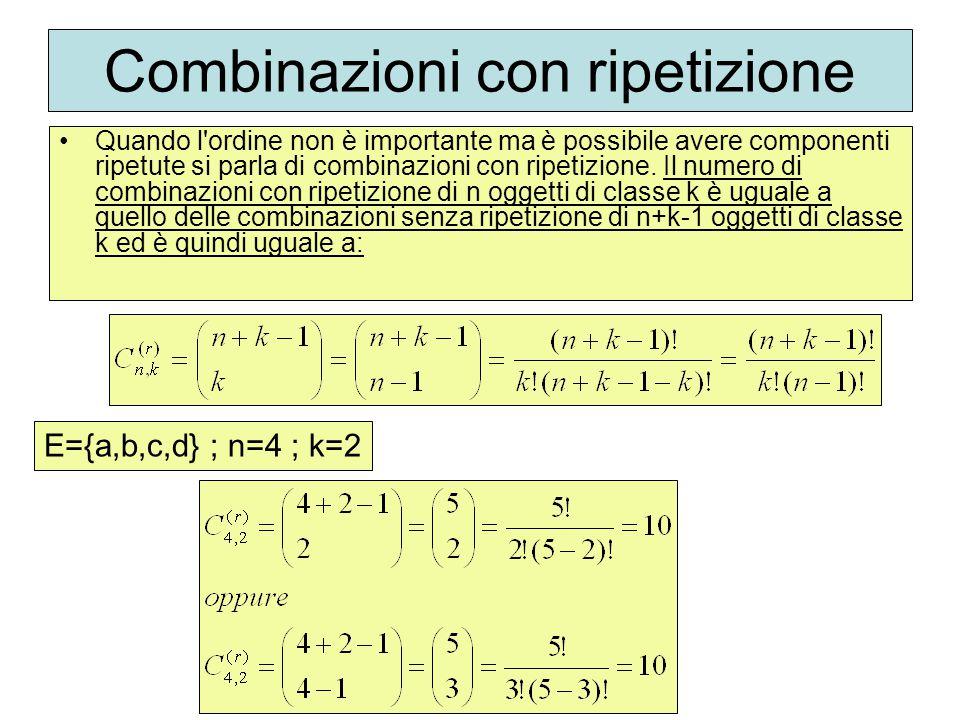 Combinazioni con ripetizione Quando l'ordine non è importante ma è possibile avere componenti ripetute si parla di combinazioni con ripetizione. Il nu