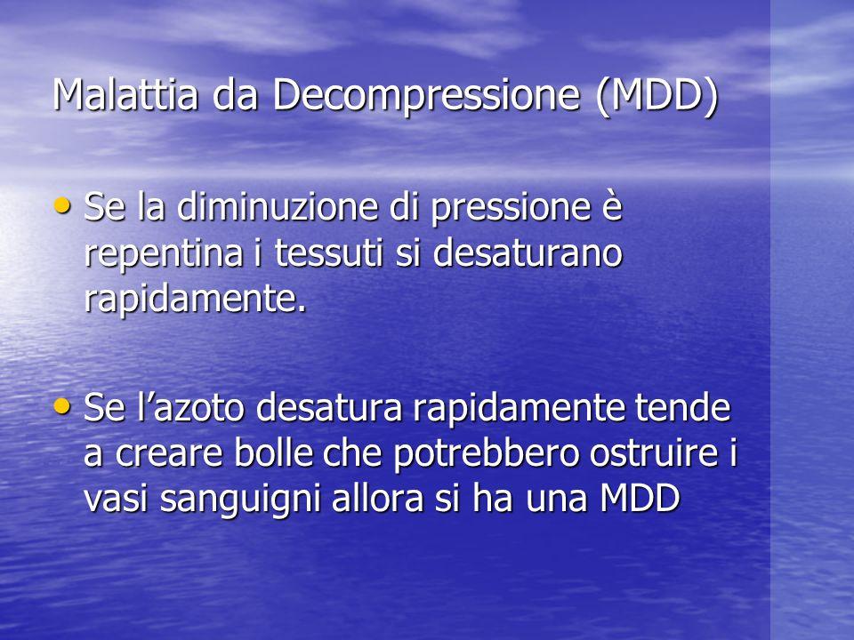 Malattia da Decompressione (MDD) Se la diminuzione di pressione è repentina i tessuti si desaturano rapidamente. Se la diminuzione di pressione è repe