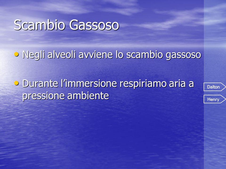 Negli alveoli avviene lo scambio gassoso Negli alveoli avviene lo scambio gassoso Durante l'immersione respiriamo aria a pressione ambiente Durante l'