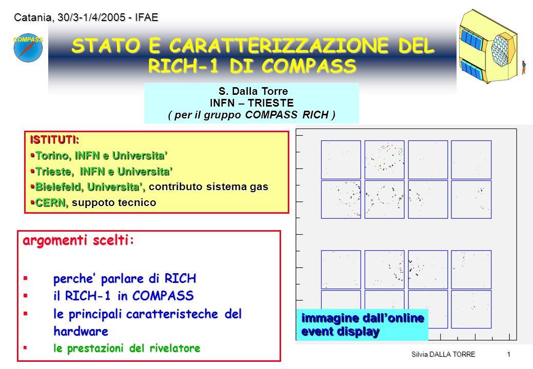 1 Silvia DALLA TORRE Catania, 30/3-1/4/2005 - IFAE STATO E CARATTERIZZAZIONE DEL RICH-1 DI COMPASS immagine dall'online event display ISTITUTI:  Tori