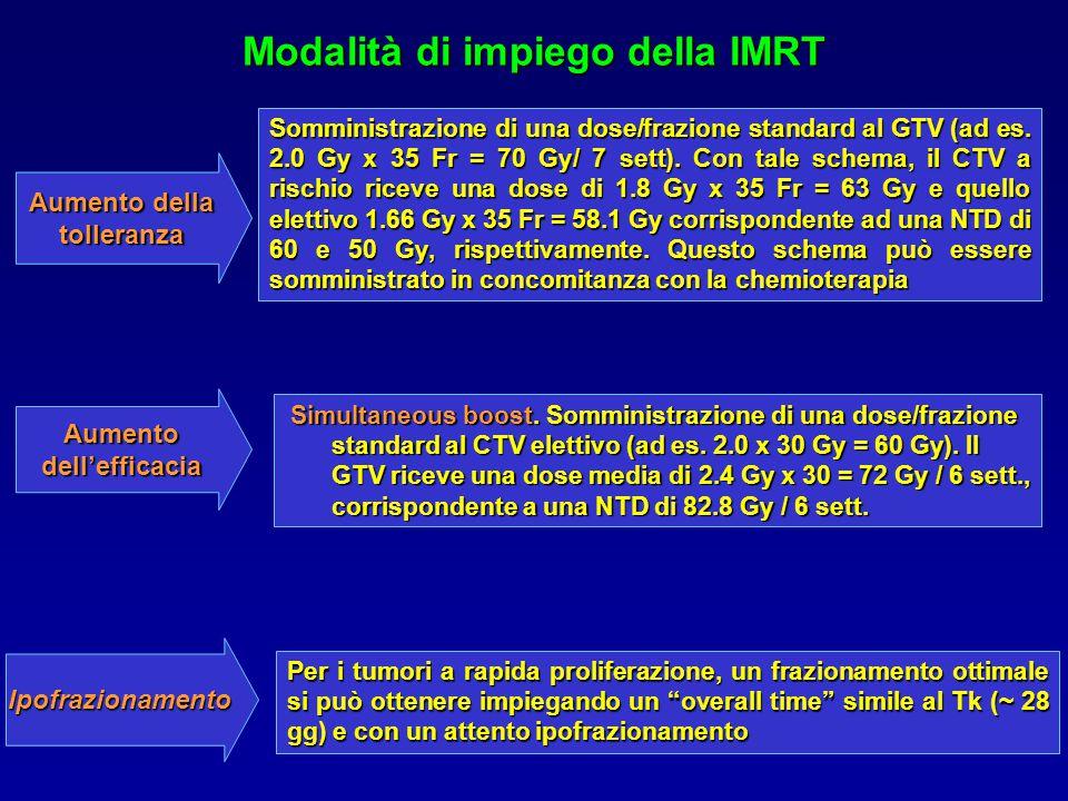 Modalità di impiego della IMRT Somministrazione di una dose/frazione standard al GTV (ad es.