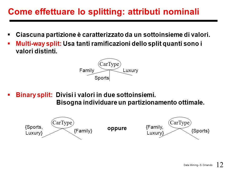 12 Data Mining - S. Orlando Come effettuare lo splitting: attributi nominali  Ciascuna partizione è caratterizzato da un sottoinsieme di valori.  Mu