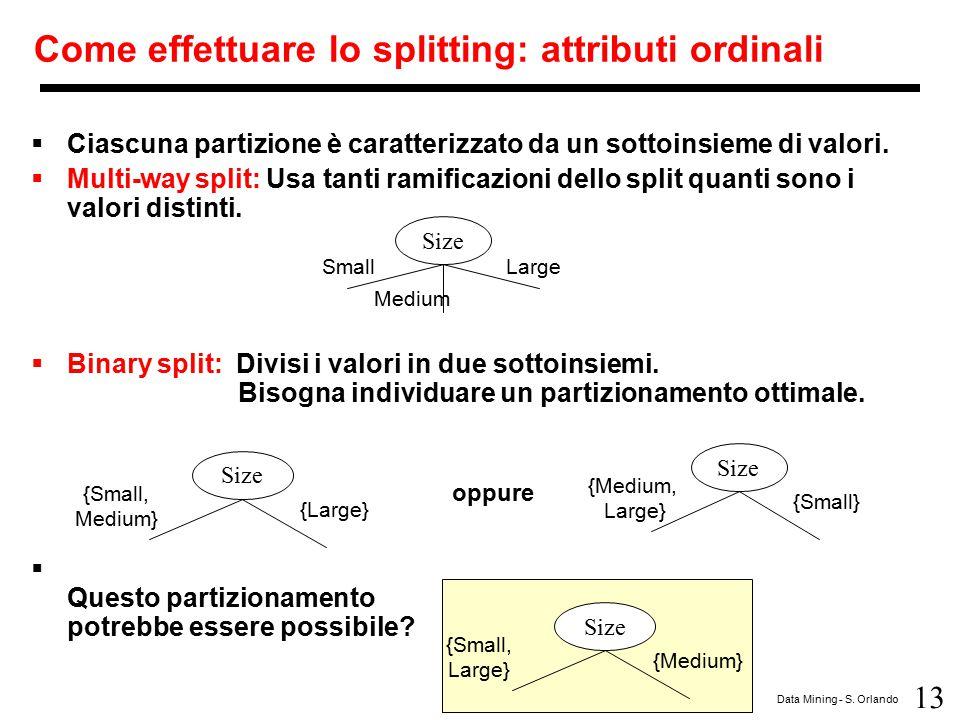 13 Data Mining - S. Orlando Come effettuare lo splitting: attributi ordinali  Ciascuna partizione è caratterizzato da un sottoinsieme di valori.  Mu