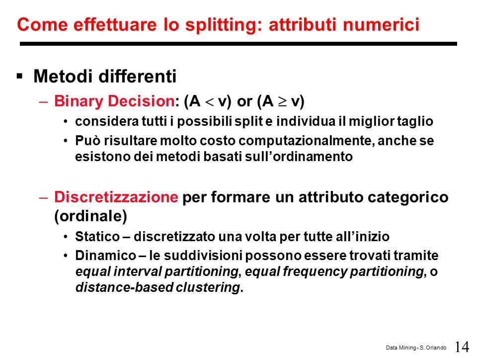 14 Data Mining - S. Orlando Come effettuare lo splitting: attributi numerici  Metodi differenti –Binary Decision: (A  v) or (A  v) considera tutti