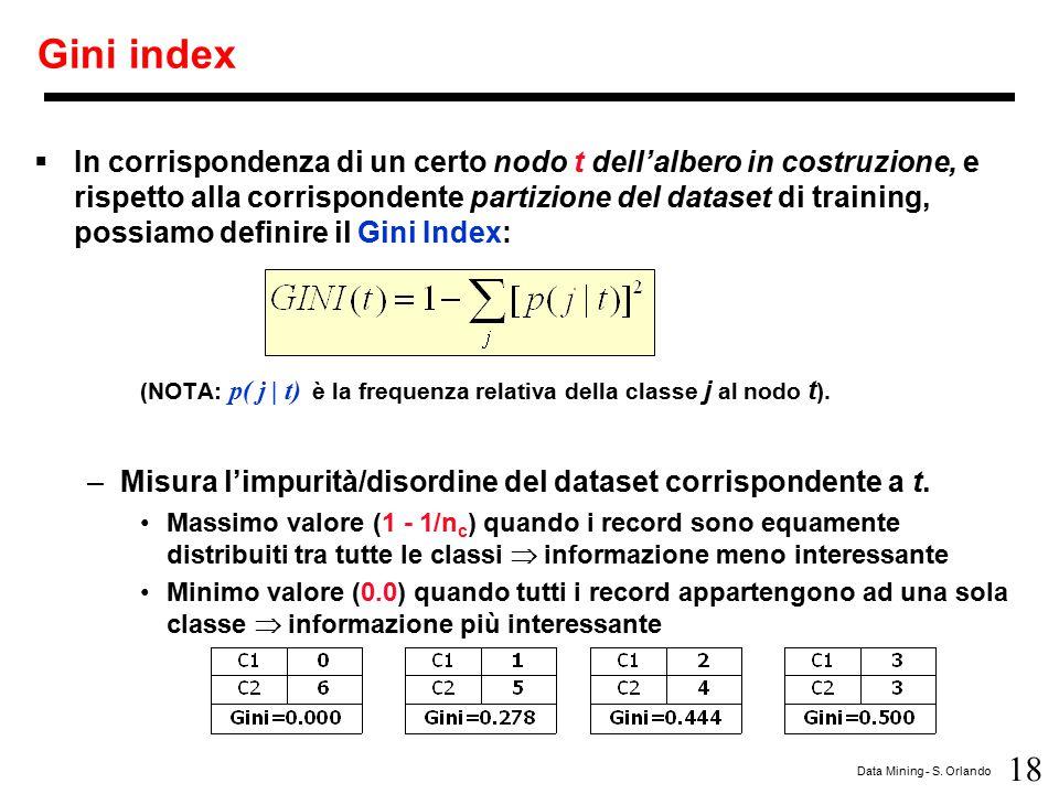 18 Data Mining - S. Orlando Gini index  In corrispondenza di un certo nodo t dell'albero in costruzione, e rispetto alla corrispondente partizione de