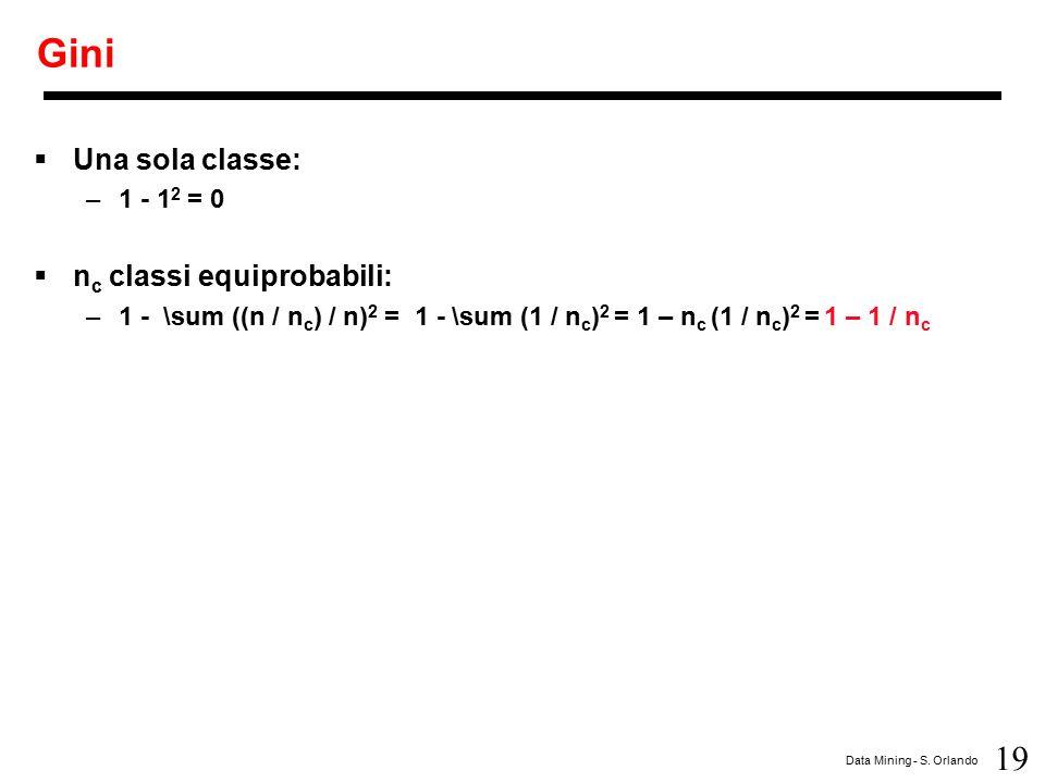 19 Data Mining - S. Orlando Gini  Una sola classe: –1 - 1 2 = 0  n c classi equiprobabili: –1 - \sum ((n / n c ) / n) 2 = 1 - \sum (1 / n c ) 2 = 1