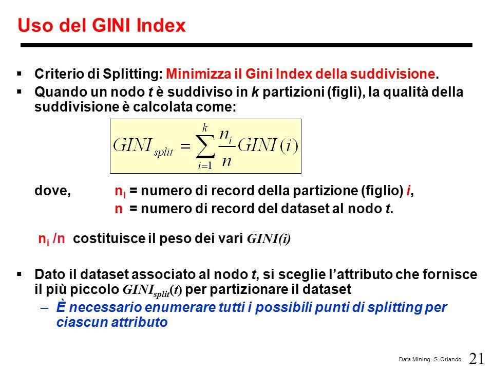 21 Data Mining - S. Orlando Uso del GINI Index  Criterio di Splitting: Minimizza il Gini Index della suddivisione.  Quando un nodo t è suddiviso in