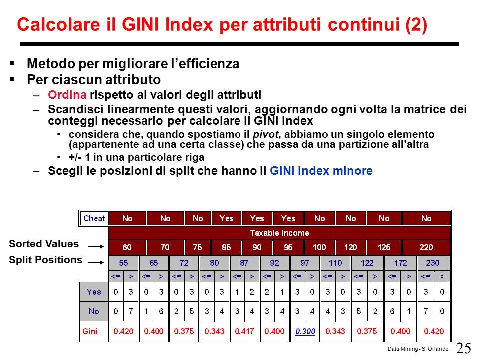 25 Data Mining - S. Orlando Calcolare il GINI Index per attributi continui (2)  Metodo per migliorare l'efficienza  Per ciascun attributo –Ordina ri