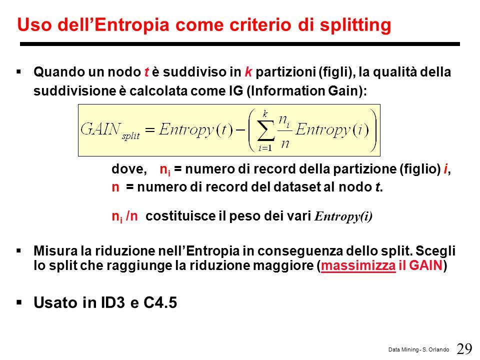 29 Data Mining - S. Orlando Uso dell'Entropia come criterio di splitting  Quando un nodo t è suddiviso in k partizioni (figli), la qualità della sudd