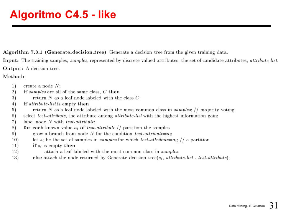 31 Data Mining - S. Orlando Algoritmo C4.5 - like