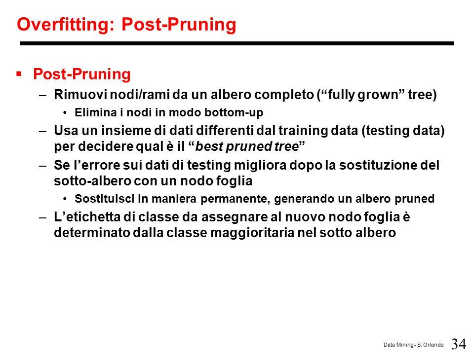 "34 Data Mining - S. Orlando Overfitting: Post-Pruning  Post-Pruning –Rimuovi nodi/rami da un albero completo (""fully grown"" tree) Elimina i nodi in m"