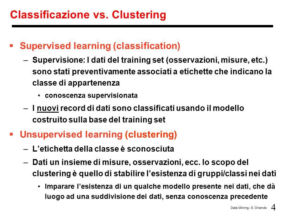 4 Data Mining - S. Orlando Classificazione vs. Clustering  Supervised learning (classification) –Supervisione: I dati del training set (osservazioni,