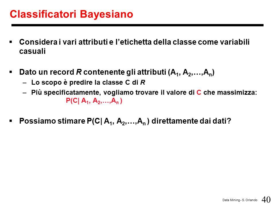 40 Data Mining - S. Orlando Classificatori Bayesiano  Considera i vari attributi e l'etichetta della classe come variabili casuali  Dato un record R