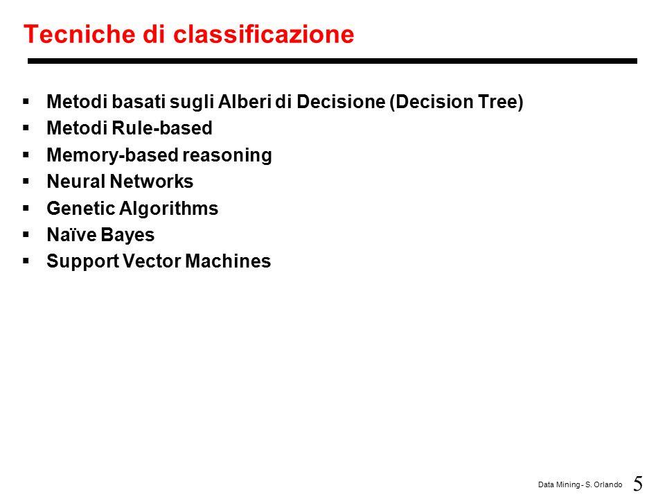 5 Data Mining - S. Orlando Tecniche di classificazione  Metodi basati sugli Alberi di Decisione (Decision Tree)  Metodi Rule-based  Memory-based re