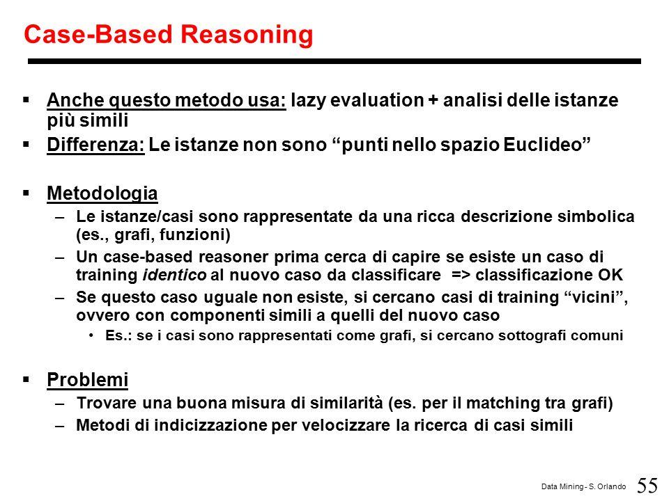 55 Data Mining - S. Orlando Case-Based Reasoning  Anche questo metodo usa: lazy evaluation + analisi delle istanze più simili  Differenza: Le istanz