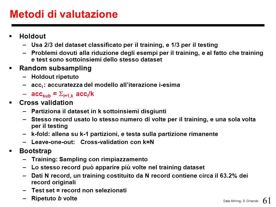 61 Data Mining - S. Orlando Metodi di valutazione  Holdout –Usa 2/3 del dataset classificato per il training, e 1/3 per il testing –Problemi dovuti a