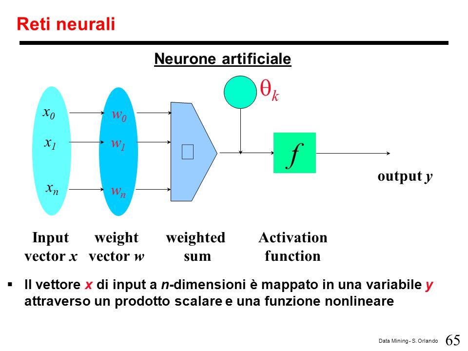 65 Data Mining - S. Orlando Reti neurali  Il vettore x di input a n-dimensioni è mappato in una variabile y attraverso un prodotto scalare e una funz