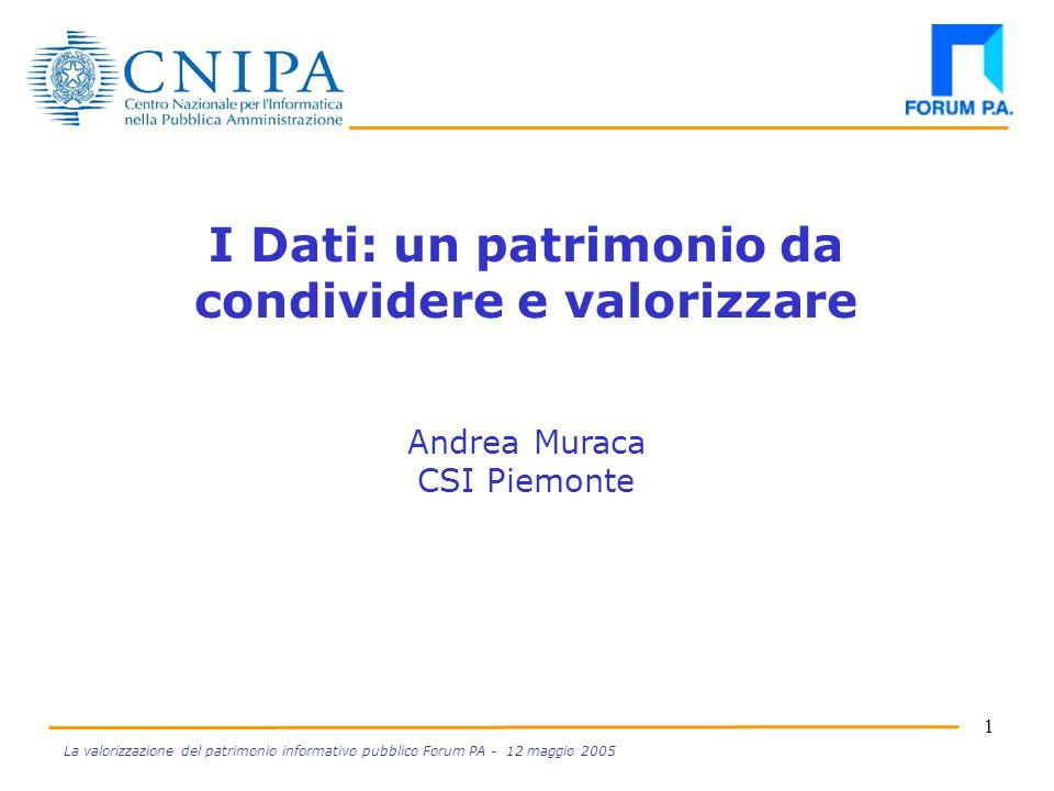 1 La valorizzazione del patrimonio informativo pubblico Forum PA - 12 maggio 2005 I Dati: un patrimonio da condividere e valorizzare Andrea Muraca CSI