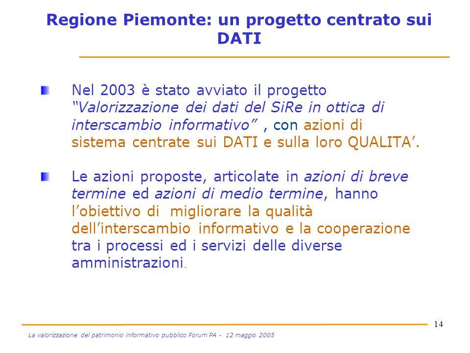 """14 La valorizzazione del patrimonio informativo pubblico Forum PA - 12 maggio 2005 Nel 2003 è stato avviato il progetto """"Valorizzazione dei dati del S"""