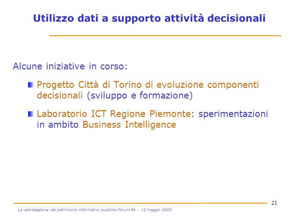 21 La valorizzazione del patrimonio informativo pubblico Forum PA - 12 maggio 2005 Alcune iniziative in corso: Progetto Città di Torino di evoluzione