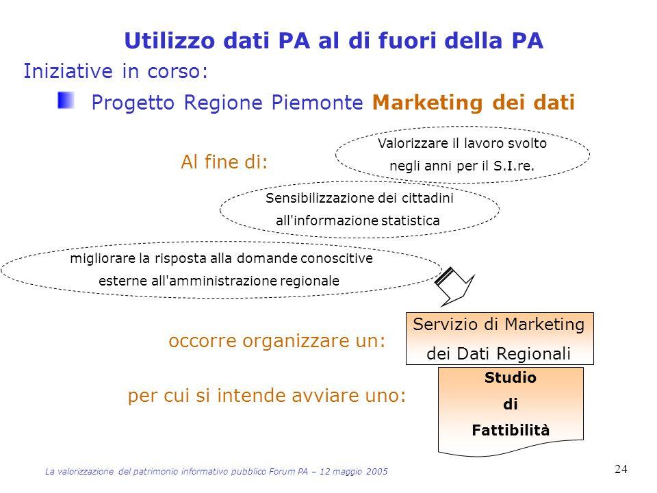 Iniziative in corso: Progetto Regione Piemonte Marketing dei dati Servizio di Marketing dei Dati Regionali Valorizzare il lavoro svolto negli anni per