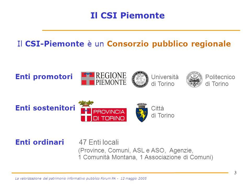 3 La valorizzazione del patrimonio informativo pubblico Forum PA - 12 maggio 2005 Enti promotori Università Politecnico di Torino di Torino Enti soste