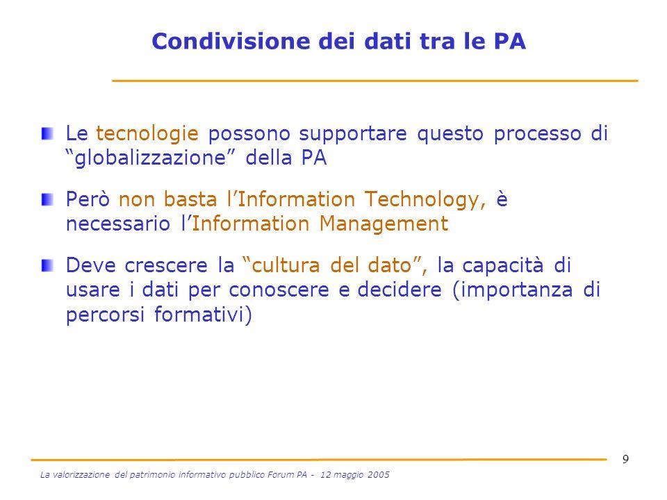 """9 La valorizzazione del patrimonio informativo pubblico Forum PA - 12 maggio 2005 Le tecnologie possono supportare questo processo di """"globalizzazione"""