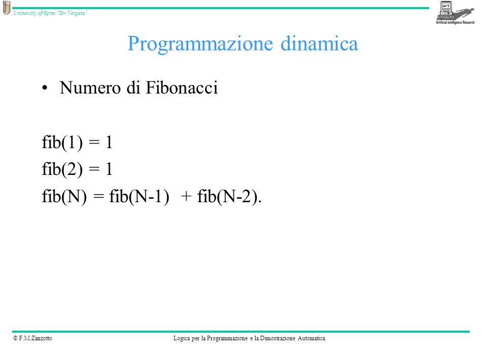 © F.M.ZanzottoLogica per la Programmazione e la Dimostrazione Automatica University of Rome Tor Vergata Programmazione dinamica Numero di Fibonacci fib(1) = 1 fib(2) = 1 fib(N) = fib(N-1) + fib(N-2).