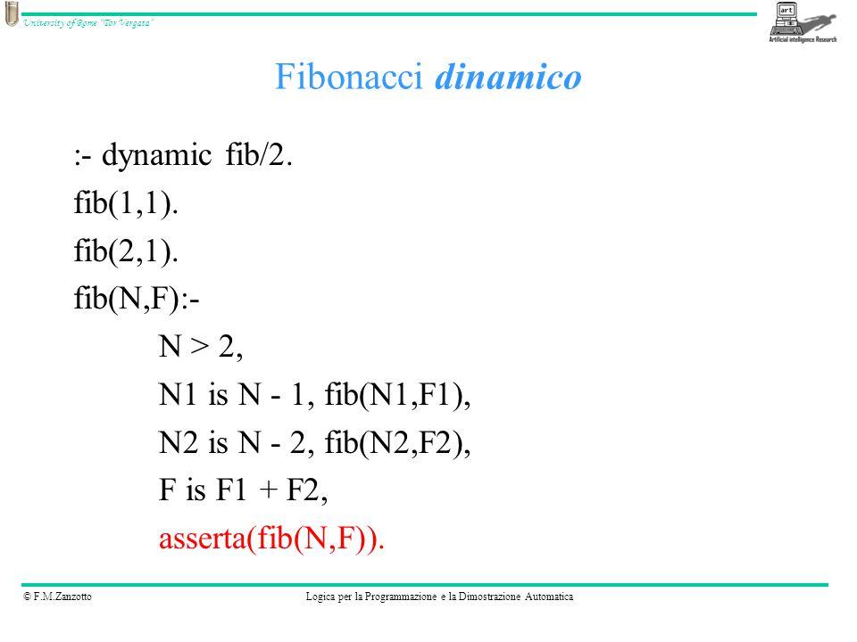 """© F.M.ZanzottoLogica per la Programmazione e la Dimostrazione Automatica University of Rome """"Tor Vergata"""" Fibonacci dinamico :- dynamic fib/2. fib(1,1"""